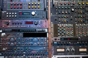 Closeup of various outboard gear.